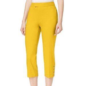 Charter Club Tuscan Gold Button-Detail Capri Pants